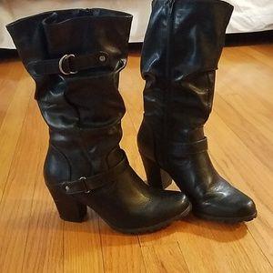 Black high-heel boots